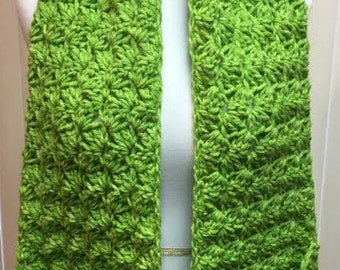 Pocket Scarf, Lime Green Scarf, Crochet Scarf, Wool Scarf, Wide Scarf, Chunky Scarf, Crocheted Scarf, Crochet Scarf Pocket, Winter Scarf