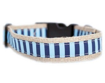 Dog collar / leash STRIPES BLUE