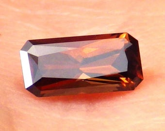 Zircon Hyacinth-Russia 0.73 Ct Flawless-Natural Rich/Deep Orange-Red-Mahogany Color-Small Ring Size-For Jewelry
