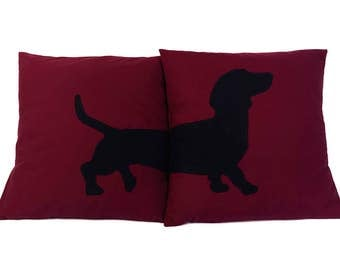 Dachshund Cushion Covers, Wine Red Cushion Covers, Sausage Dog Cushions, Dachshund Lover Gift, Teckel Kussens, Living Room Decor, Dog Lover