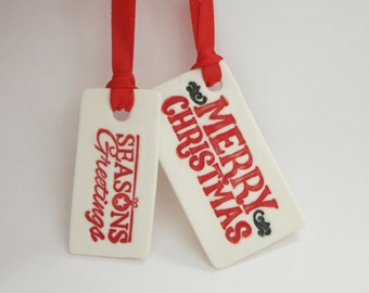 Porcelain ceramic Christmas Gift Tag or Ornament