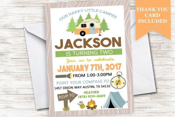 Enjoyable Happy Camper Invitation Invite Birthday Boys Camping Little Funny Birthday Cards Online Drosicarndamsfinfo