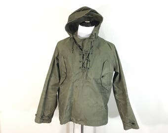 50's vintage U.S.ARMY pullover cotton smock jacket rain jacket size small anorak jacket