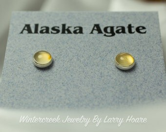 Handmade Alaska Agate Round Post Earrings