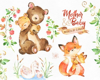 Mother & Baby. Watercolor animals clipart, fox, bear, swan, greeting, mothers day, invite, floral, wreath, diy, card, raspberry, babyshower