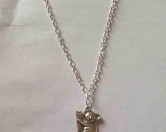 Koala necklace silver plated koala dainty necklace cute koala jewellery
