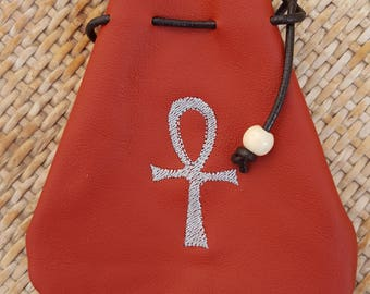 Embroidered Ox-blood Red Leather Drawstring Pouch Bag - Ankh Symbol