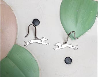 Whippet with Heart Cutout Sterling Silver Earrings
