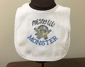 Messy Lil Monster Bib for boys or girls