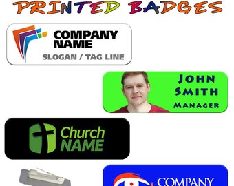 FULL COLOUR Sublimation Printed Personalised Metal ID Badge Text Photograph Logo