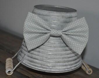 Gray and White Polka Dot Hair Bow