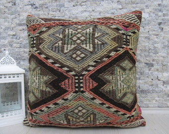anatolian kilim pillow handmade pillow 24 x 24 turkey pillow decorative wool pillow bohemian pillow kilim cushion tribal pillow throw pillow