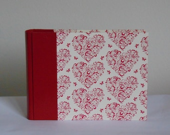 Red leather photo album and hearts 15x20, leather photo album