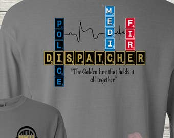 Monogrammed 911 Dispatcher Police Medic Fire Telecommunications Officer Customized Personalized Scrabble Design