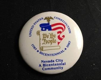 Nevada City Bicentennial 1787-1987 Vintage Pin Back Button