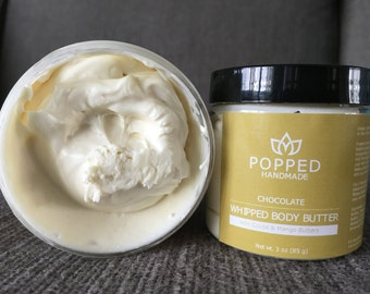 Body Butter, Natural, Handmade, Whipped, Cocoa Butter, Mango Butter, Sweet Almond Oil, Coconut Oil, Chocolate