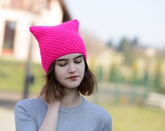 Pink Cat Hat, Knit Hat, Knit Pussy Hat,  Pink NEON  Cat Hat,  Uniwersal Hat,  Handmade Cat Hat, Women's Cat Hat, Cat Hat,   Ready to ship