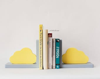 cloud kids decor,cloud,cloud bookends,yellow bookends,yellow cloud,yellow,gray bookends,cloud nursery,cloud nursery decor,bright bookends