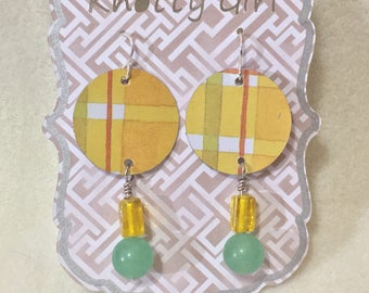 Upcycled cookie tin earrings
