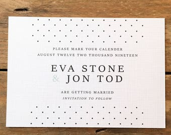 Dot to Dot Save the Date Printable Wedding Stationery, Personalised Digital PDF