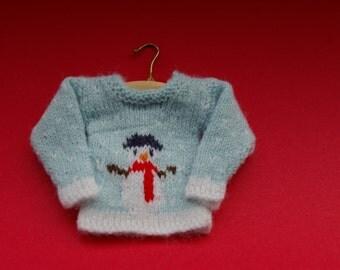 Miniature Doll's Snowman Jumper Knitting Pattern