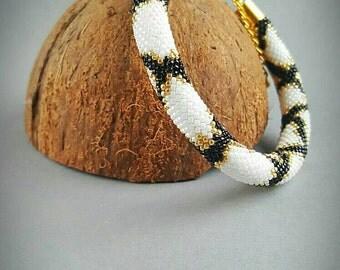 Handmade beaded crochet bracelet Toho bracelet Piton bracelet Boho bracelet Gift for her