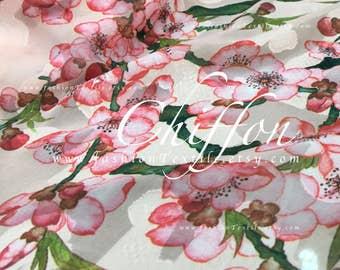 Cherry blossom Pink Chiffon Polyester Chiffon Fabric by the yard