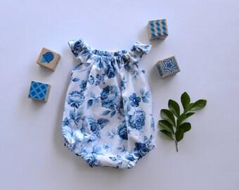 Baby girl playsuit // flutter sleeve // romper // vintage // blue // rose // floral // baby gift // baby shower