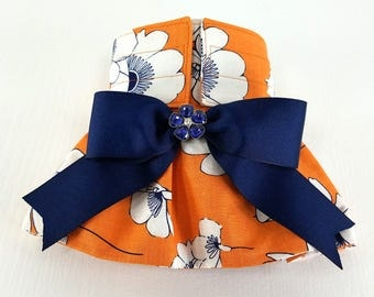 READY TO SHIP - Female Dog Diaper - Dog Panties with skirt - Dog Potty Training Aid - house breaking - Orange flowers with Navy