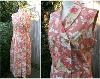 80s Laura Ashley Long Floral Dress in Dusky Pink/Brown Cotton and Linen UK 12/14