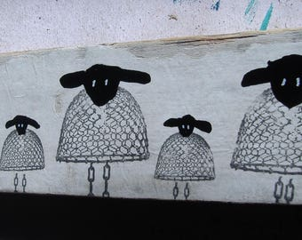 Whimsical Sheep On Wood Ready to Hang