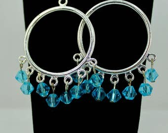 Silver and Blue Crystal Hoops
