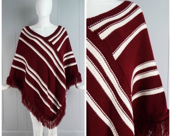Vintage 1970s Burgundy and White Diagonal Stripe Poncho   One Size Fits Most