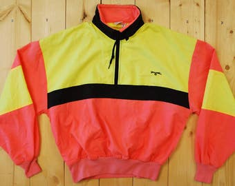 Vintage 1990's NEON SPALDING Windbreaker / Surf / Skate /  Retro Collectable Rare