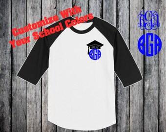 Senior Shirt- Graduation Monogram Shirt-Personalized Graduation Shirt- Senior 17 Shirt- Gift for Grad- Gift for Her- Class of 2017