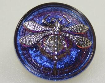 Czech Glass Dragonfly Button, 23mm