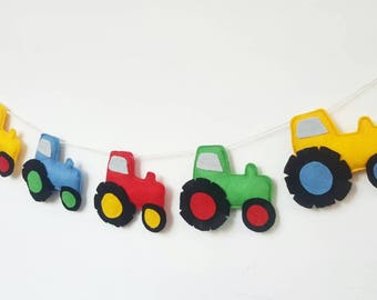 Felt Tractor Garland. Perfect for a bright nursery or playroom.
