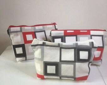 Square zipper pouches, pencil case, make up bag