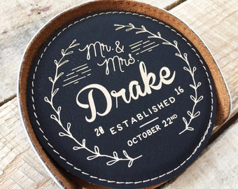 Custom Bar Coasters, Leather Coaster Set, Custom Coasters, Engraved Coasters, Personalized Coasters, Personalized Bar, Custom Bar Accessory