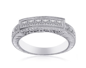 0.85 Carat Princess Cut Diamond Womens Wedding Band 14K White Gold
