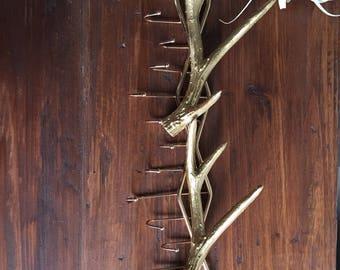 Gold antler key hook rack