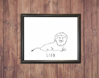 Printable Lion Line Drawing (one continous line drawing)