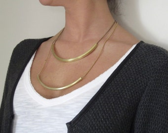Vintage necklace/double necklace/statement necklace/chain/brass/bronze/gold/chain necklace/double chain