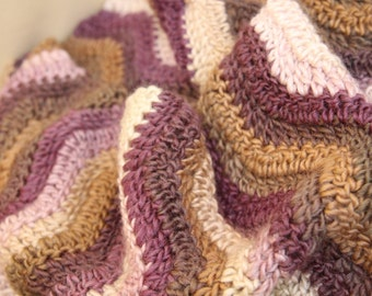 Infinity scarf in purple, white and brown waves