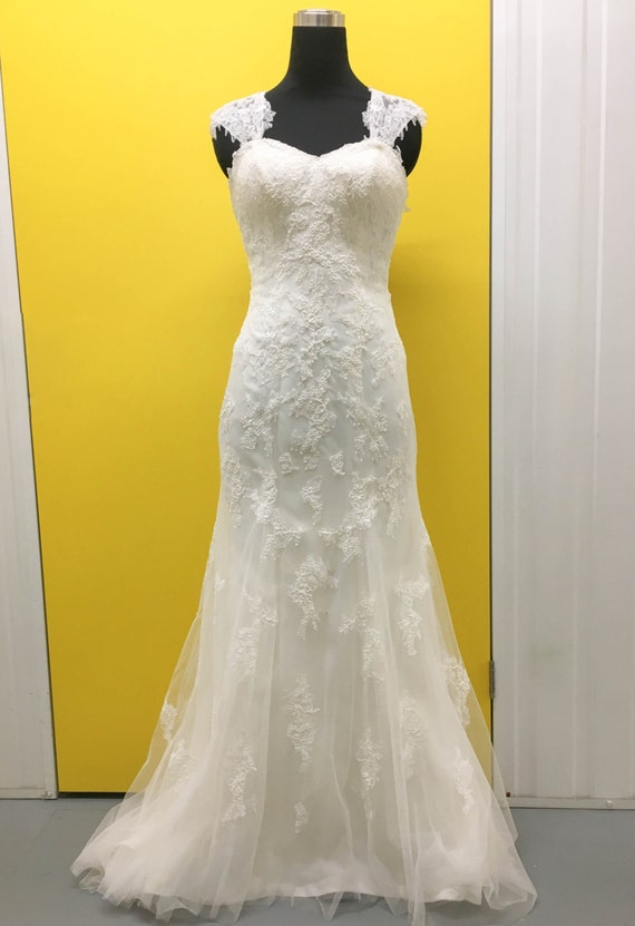Full lace trumpet shape wedding dress with by whiteworksbridal for Butterfly back wedding dress