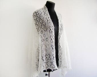 Stole mohair white knitted marriage shawl white Bridal stole hand knit shawl lace shawl Lace Wedding Knitting Shawl knit shawl Knitting