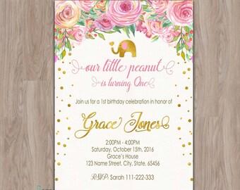 elephant birthday invitation, birthday invitations for girls, first birthday invitation, 1st birthday invitation, floral birthday invitation
