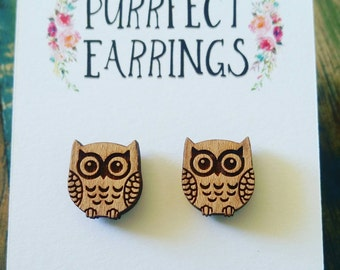 Handmade laser cut cute owl stud earrings