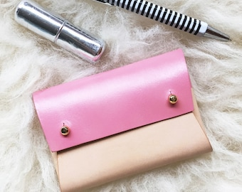 Personalised handmade leather pouch - Natural and Pink - Mini