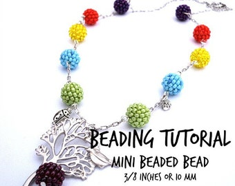 Beaded Bead Tutorial, Mini Beaded Bead Pattern, PDF file download, DIY jewelry, Beading instructions, pdf tutorial earrings necklace lesson
